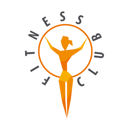 health beauty: vector logo girl with a hoop for fitness club