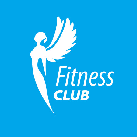 vector logo girl with wings for fitness