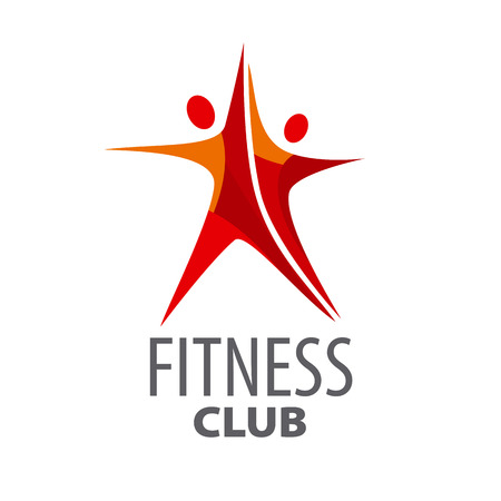 vector logo for fitness in the form of a red star Vettoriali