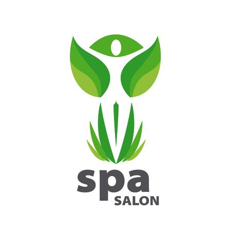 health logo: Green vector logo for Spa salon