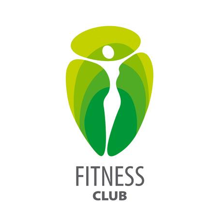 ginástica: Logotipo do vetor abstrato verde para o clube de fitness