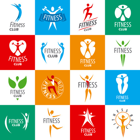 large set of vector logos for fitness clubs