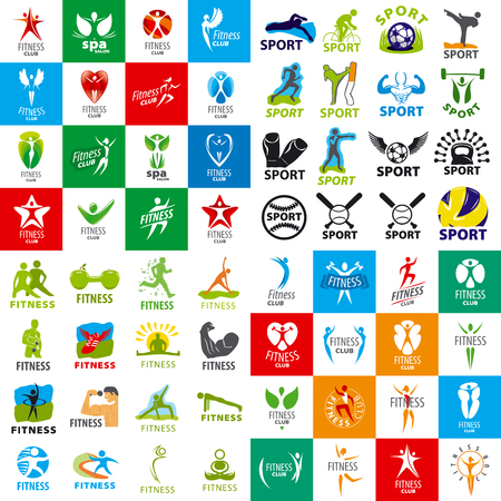 health beauty: large set of vector logos of sports and fitness