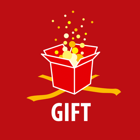 shopping icons: Abstract vector gift on a red background