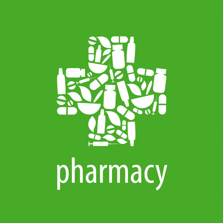 vector logo for pharmacy cross on a green background