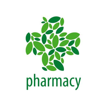 vegetal: vector logo cross from of green leaves