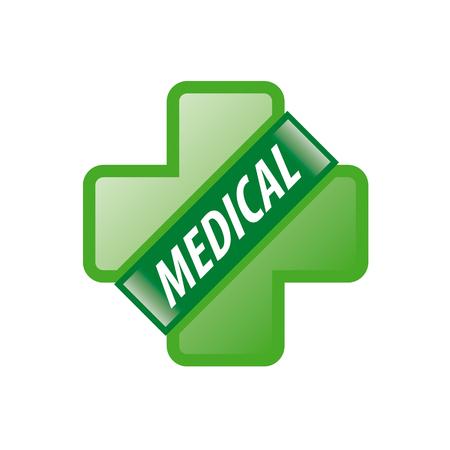 green cross: vector logo green cross and green ribbon Illustration