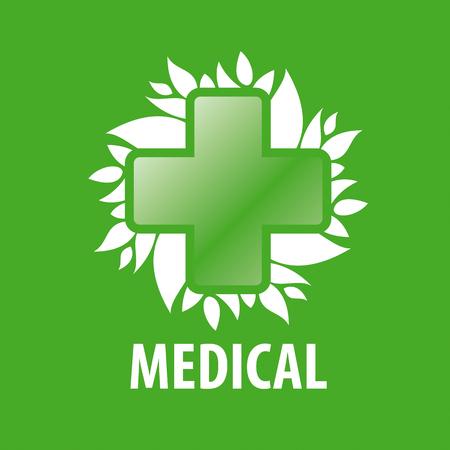 green cross: vector logo green cross and leaves Illustration