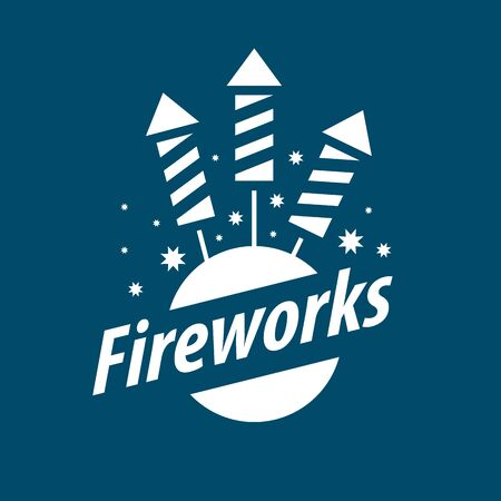 fourth birthday: White vector logo for entertainment and fireworks