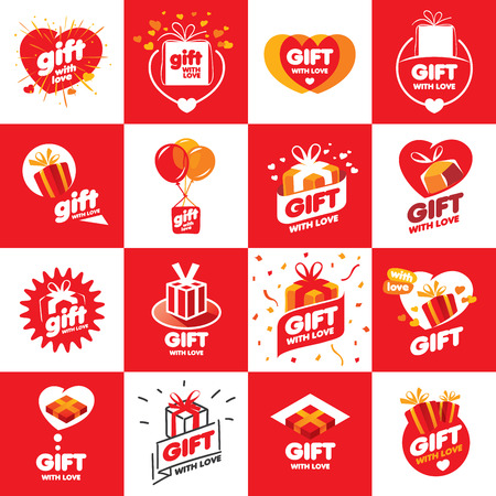 a large set of abstract vector boxes with gifts Çizim