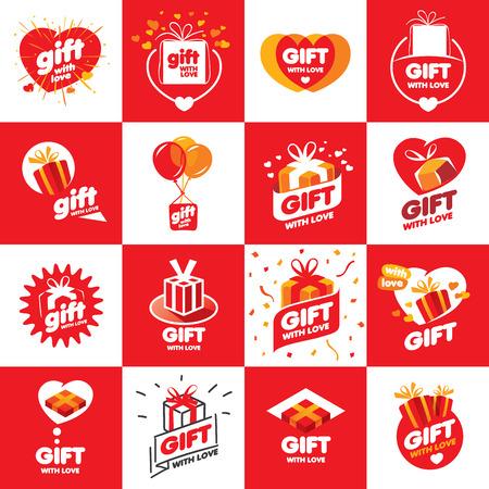 dar un regalo: un gran conjunto de cajas de vectores de fondo con regalos