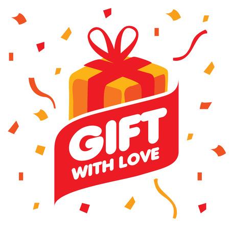 dar un regalo: Cuadro abstracto del vector con los regalos. Elemento de diseño