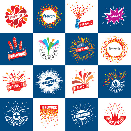 patriotic: et of abstract vector for celebratory salute and fireworks