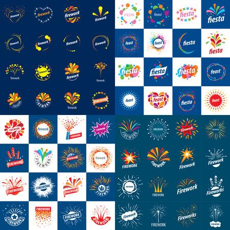 fireworks: Conjunto de fondos de vector para la celebraci�n de saludo y fuegos artificiales