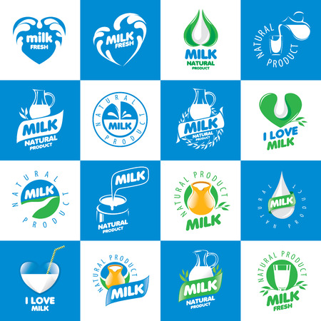 cow milk: a large set     for natural dairy products Illustration