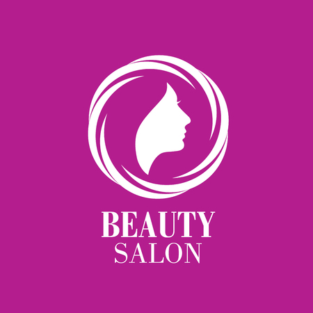 color hair: Beauty Female Face Logo Design.Cosmetic salon logo design. Creative Woman Face Vector Illustration