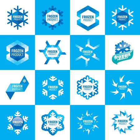 alimentos congelados: gran conjunto de logotipos vectoriales para productos congelados