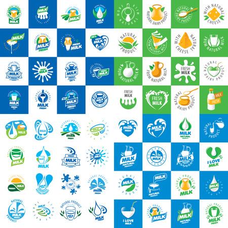 Logotipos de vectores gráficos universales para los productos lácteos naturales Foto de archivo - 48324449