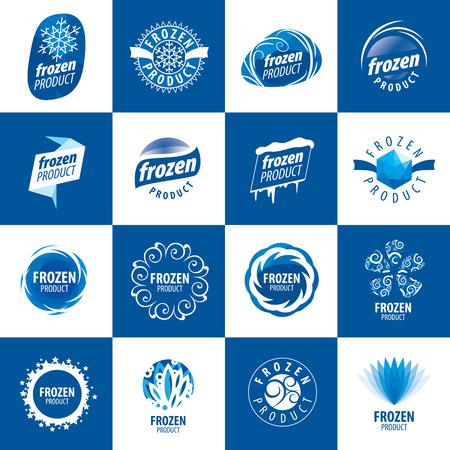 resfriado: gran conjunto de logotipos vectoriales para productos congelados