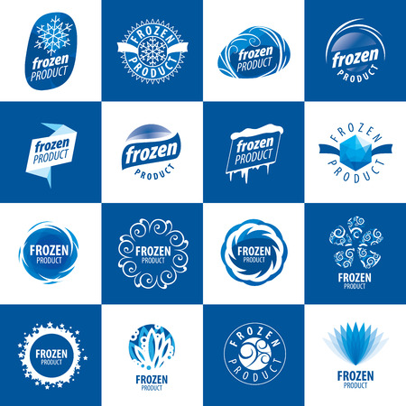 frozen winter: large set of vector logos for frozen products