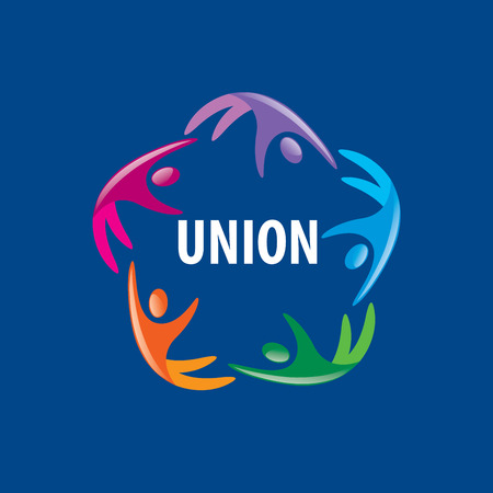 friends together: Abstract vector logo colored people in the Union
