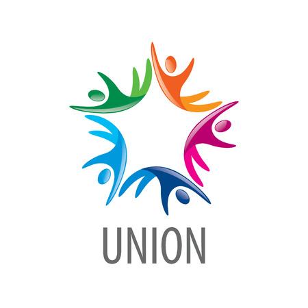 Resumo do logotipo do vetor pessoas de cor na União