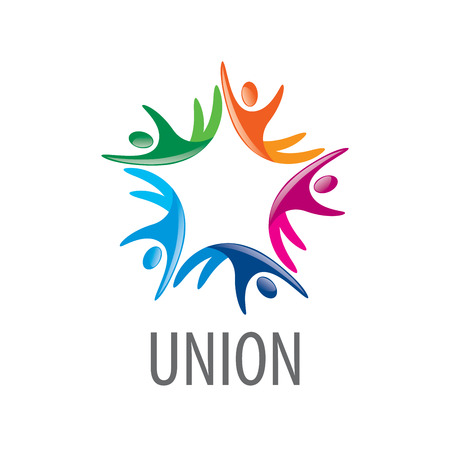 Abstract vector logo colored people in the Union