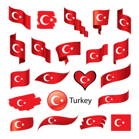 vector set Turkish flag on a white background