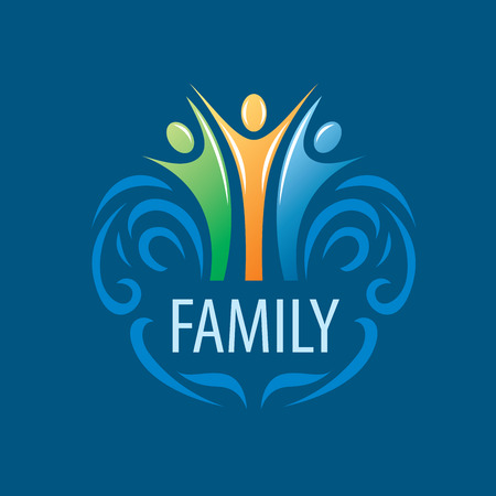 sport logo: abstract vector sign for the family and the union people
