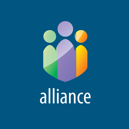 alliance: Abstract colorful vector logo union of people