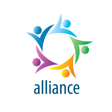 alliance: Abstract vector logo union of people in the form of stars Illustration