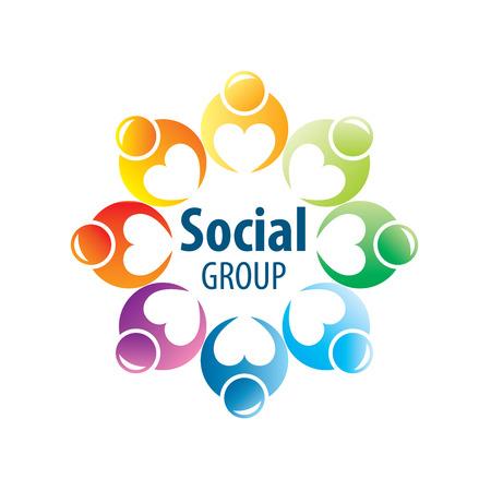 circulo de personas: Resumen Vector logo personas de grupos sociales