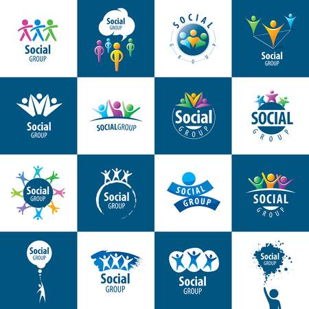 fitness hombres: conjunto de vector abstracta de logos personas a grupos sociales Vectores
