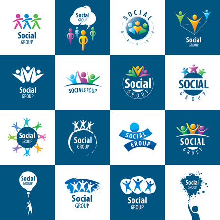 group fitness: set of abstract vector logos people to social groups Illustration