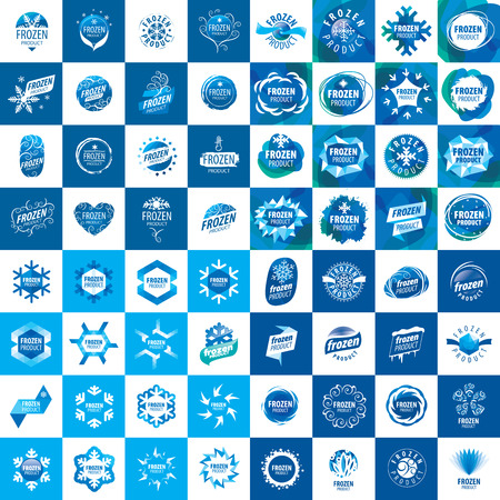 abstract logos: Set of abstract vector logos and frost patterns. Design element