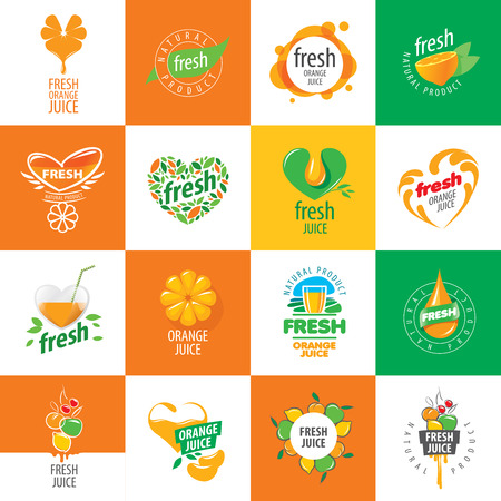 saludable logo: icono del vector de jugo fresco de productos naturales Vectores