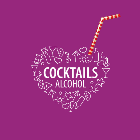 alcoholic drinks: vector icons of alcoholic drinks by the glass