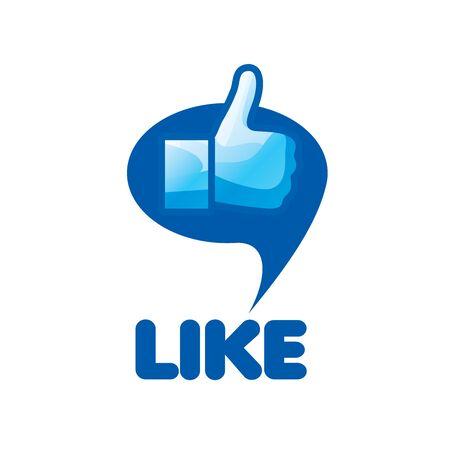 vector logo, thumb up applique, vector illustration