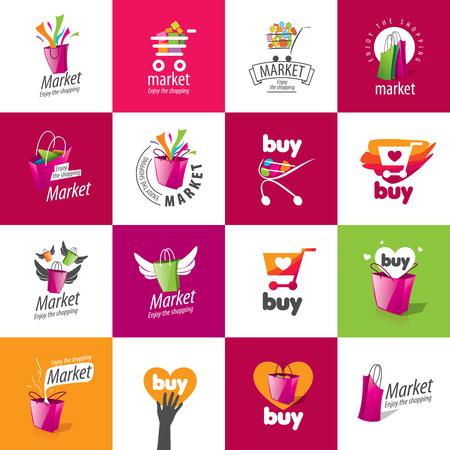 Vektor-Logo-Vorlage zum Einkaufen. Konzepte und Ideen