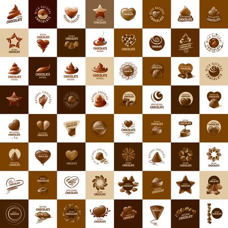 Szablon logo czekolada i słodycze. ilustracji wektorowych Logo