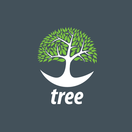 green life: Tree emblem template. Abstract vector illustration. Plant Illustration