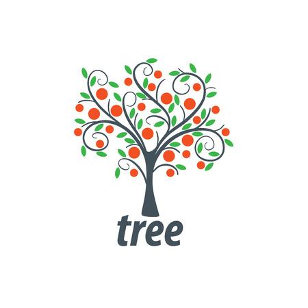 plantilla emblema árbol. Resumen ilustración vectorial. Planta