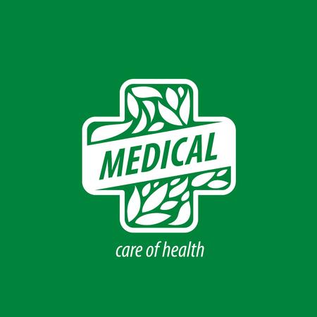 herbal background: Cross logo for medicine and pharmacy. Vector illustration Illustration