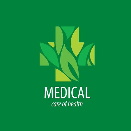 herbal medicine: Cross logo for medicine and pharmacy. Vector illustration Illustration