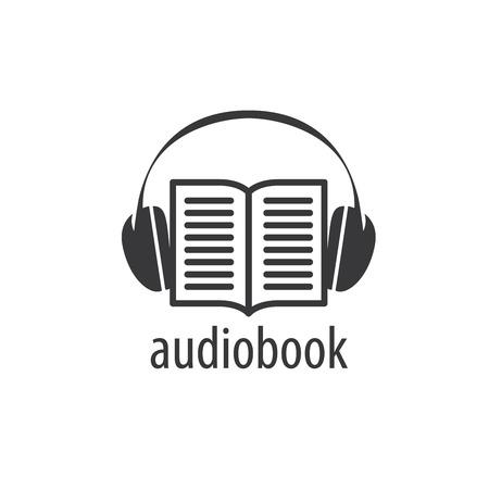 Logo di audiolibri di modello astratto. Icona di illustrazione vettoriale Logo