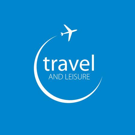 Vector logo template plane flight. Illustration journey Illustration