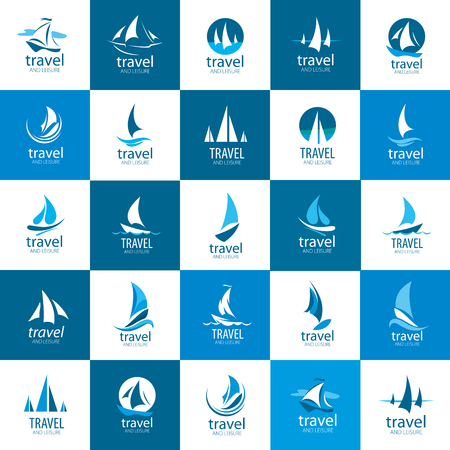 Template Vector Yacht logo. Illustration for travel and leisure  イラスト・ベクター素材
