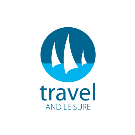 wave icon: Template Vector Yacht logo. Illustration for travel and leisure Illustration