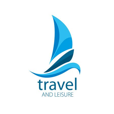 deportes nauticos: logotipo de la plantilla del yate del vector. Ilustración para el recorrido y el ocio
