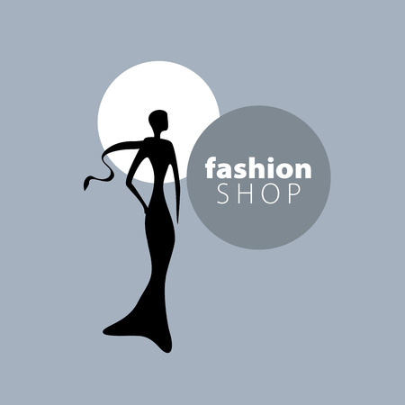 woman scarf: vector logo for womens fashion. Illustration of girl Illustration
